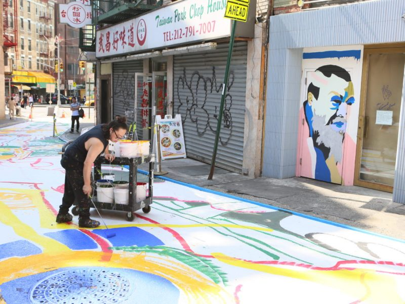 THE ARTIST CHEN DONGFAN TRANSFORMED CHINATOWN'S DOYERS STREET INTO A FLOWERY, FRIENDLY DRAGON