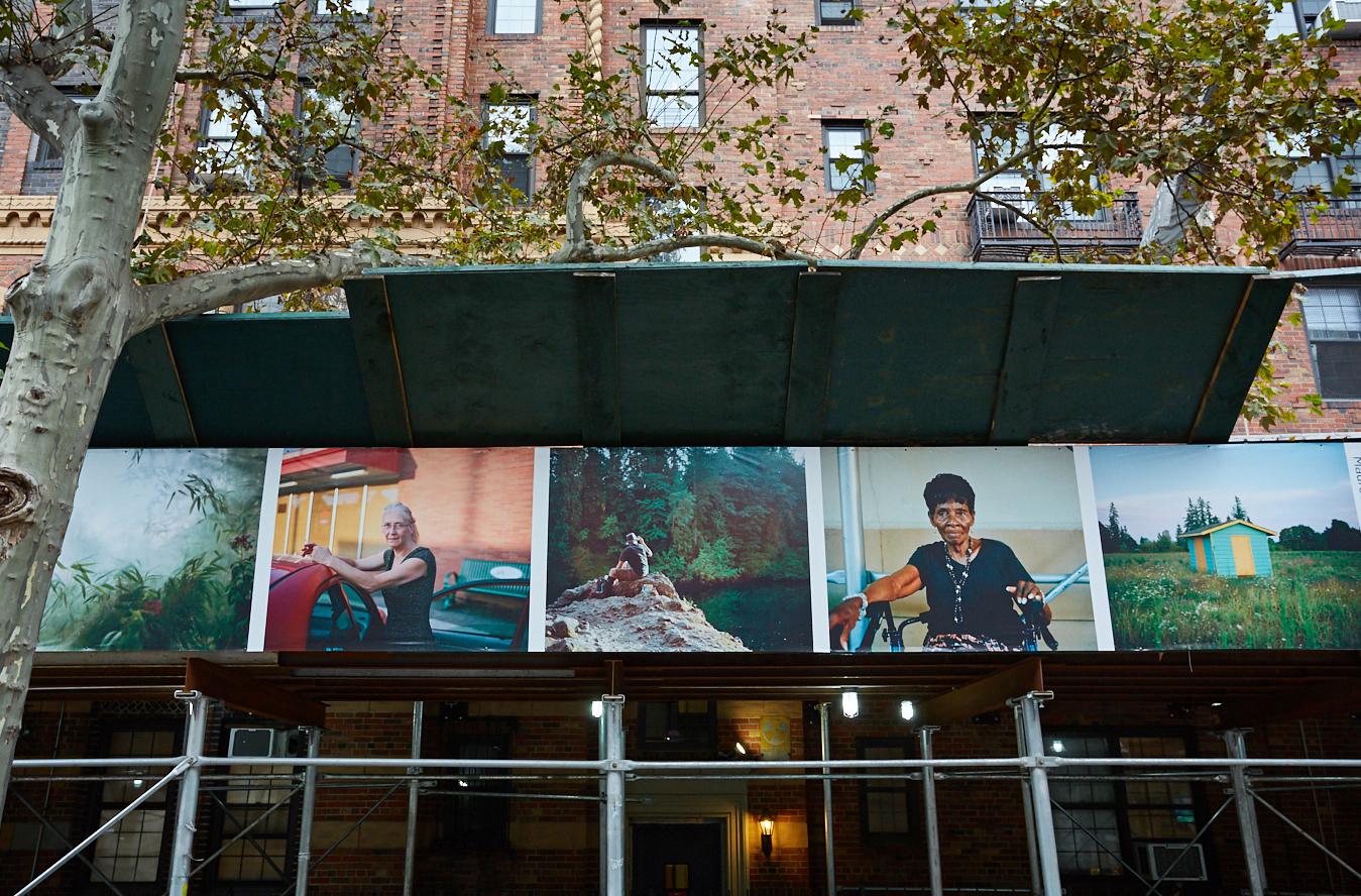 Photos on a green scaffold