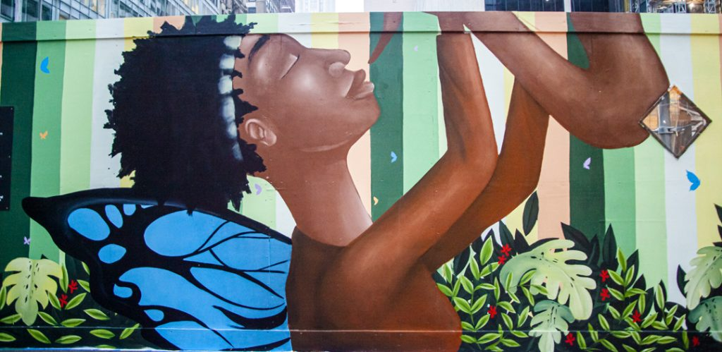 A painted representation of Sandra Bland playing the saxophone. Painted by Alexandre Keto. Photo by Pascal DuBois.
